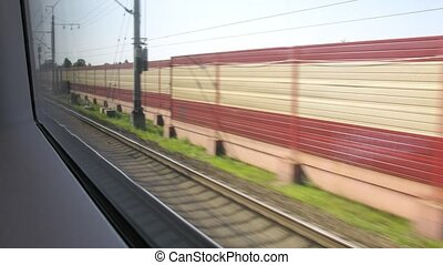 Rail tracks, view from window in train, time lapse