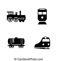 Rail Transport. Simple Related Vector Icons