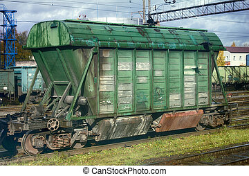 rail transportation of different goods. cars of train in...