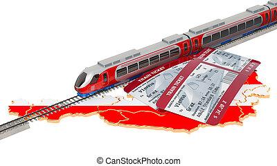 Rail travel in Austria, concept. 3D rendering