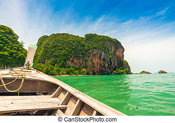 Railay beach Andaman sea blue sky