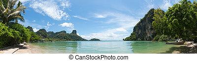 Railay beach in Krabi Thailand panorama - Railay beach in...
