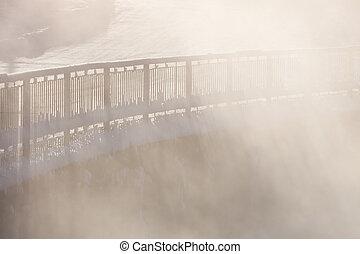 Railing in morning fog