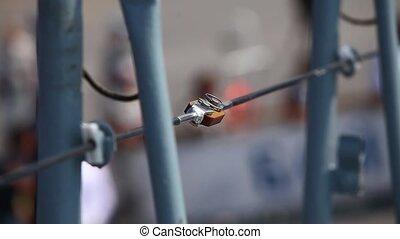 Railing ladder on a Passenger ship - Passengers climb the...
