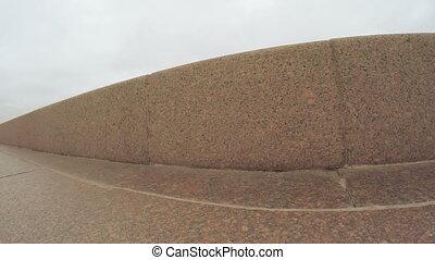Railing on bank of Neva - Granite balustrade on the banks of...