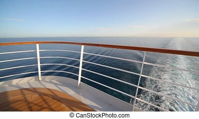 railing on top deck of cruise ship