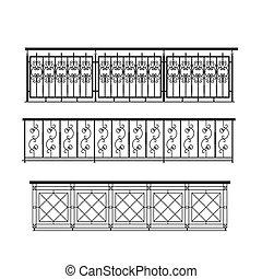railing parapet metal for exterior outline silhouette