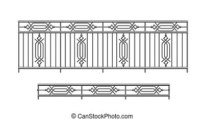 railing parapet metal for exterior outline