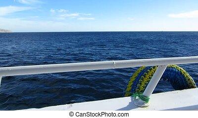 Railing yacht - Yacht railing overlooking the sea