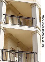 railings, lavorato, balconi, ferro, stucco