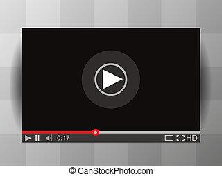 railler, interface., haut, joueur vidéo, média, vecteur, illustration.
