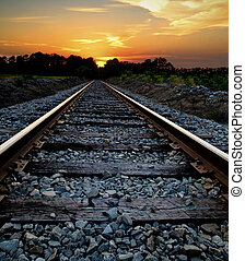 Railroad at Sunset - Abstract journey concept of a railroad ...