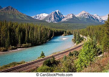 Railroad Banff - Canadian railway in Banff National Park