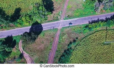 Railroad between fields - Road intersected by the railroad...