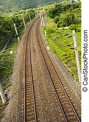 Railroad between meadow, Taiwan, Asia.
