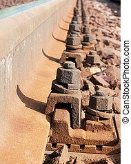 Railroad metal, sleepers and rusty bonding screws