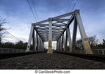 Railroad bridge at sunset