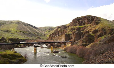 Railroad Bridge Crosses the Deschutes River Oregon State - A...