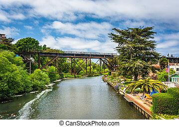Railroad bridge over Soquel Creek in Capitola, California