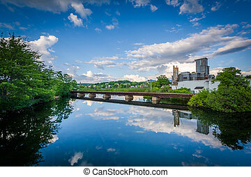 Railroad bridge over the Winnipesaukee River, in Laconia, New Hampshire.