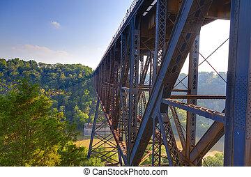 Sun rays passing through High Bridge railroad tressle in Kentucky