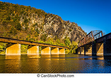 Railroad bridges over the Potomac River and Maryland Heights in Harpers Ferry, West Virginia.