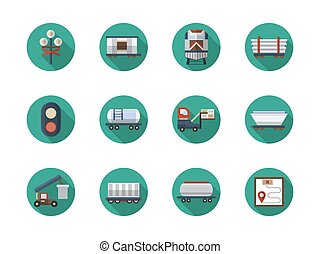 Railroad cars flat round vector icons set