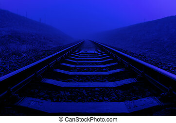 railroad closeup in night with moon light