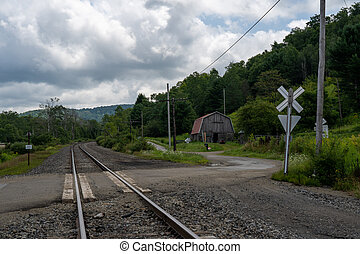 Railroad Crossing and Old Barn
