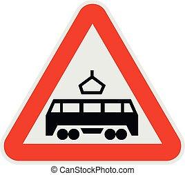 Railroad crossing icon, flat style.