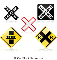 Icon set showing different traffic signs for a railroad crossing
