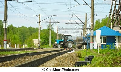 Railroad crossing in rural areas. traffic movement - UHD...