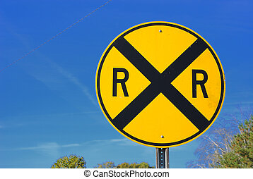 Railroad crossing road sign - Railroad crossing street sign