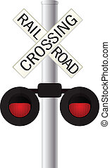 Railroad crossing sign over white background