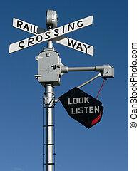 Railroad Crossing Sign - Railroad crossing sign at Heritage...