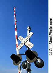 Railroad Crossing Sign - Railroad crossing sign over the...