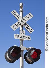 Railroad Crossing Sign - 3 tracks railroad crossing sign...