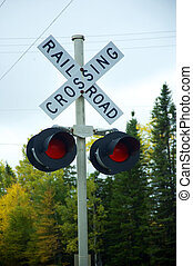 Railroad crossing sign - Sign, railroad crossing with red...