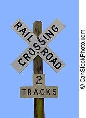 railroad crossing sign at rural georgia usa