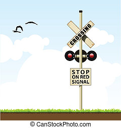 railroad crossing sign - vector illustration of a traffic ...