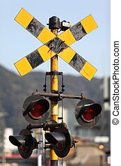 Vintage railroad signal  Vintage railroad signal warns motorists to