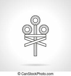 Railroad crossing signal flat line vector icon