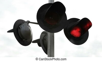 Lights signaling a Railroad crossing with high quality audio included