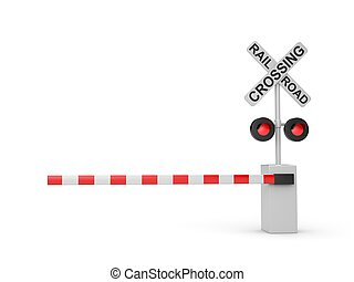 Railroad crossing sign. Isolated on white