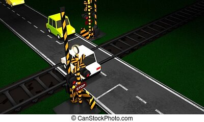 Railroad crossing animation.