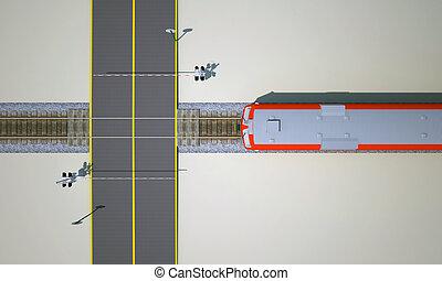 railroad crossing top view