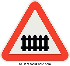 Railroad crossing with a barrier icon, flat style.