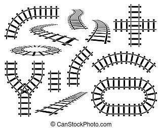 Railroad elements. Curved, straight and wavy rail tracks. Railway rails in perspective and top view, steel bars road construction vector set