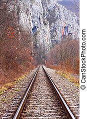 Railroad - Empty railroad in the mountains, autumn day
