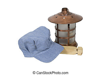 Railroad engineer hat and lantern - Traditional blue and...